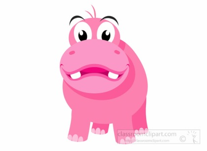 Cartoon Hippopotamus Wild Animal Clipart