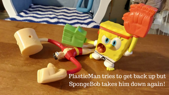PlasticMan tries to get back up but SpongeBob takes him down again!