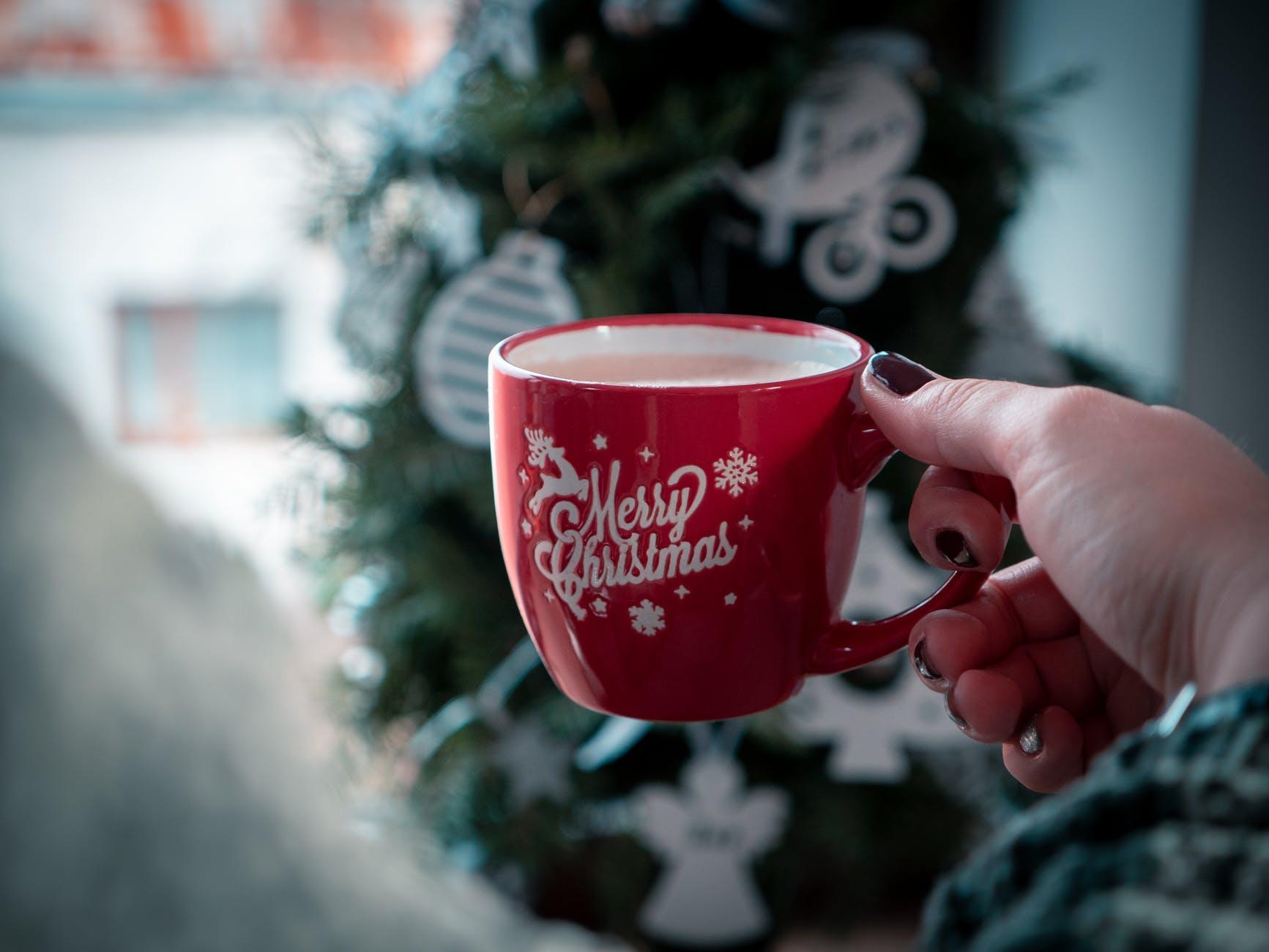 red merry christmas printed mug