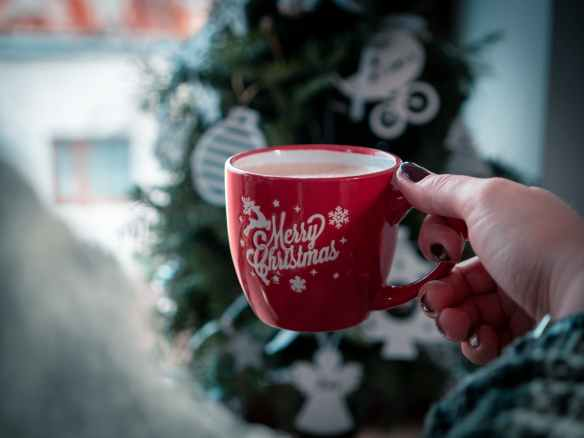 red merry christmas printed mug